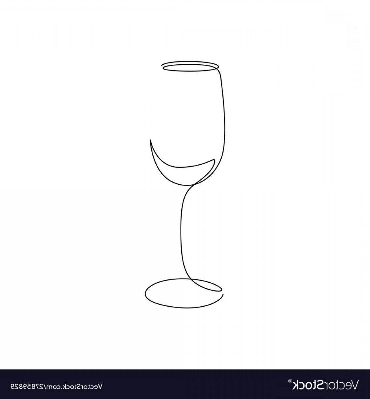Single Wine Glass Silhouette Vector: Continuous One Line Wine Glass Art Vector