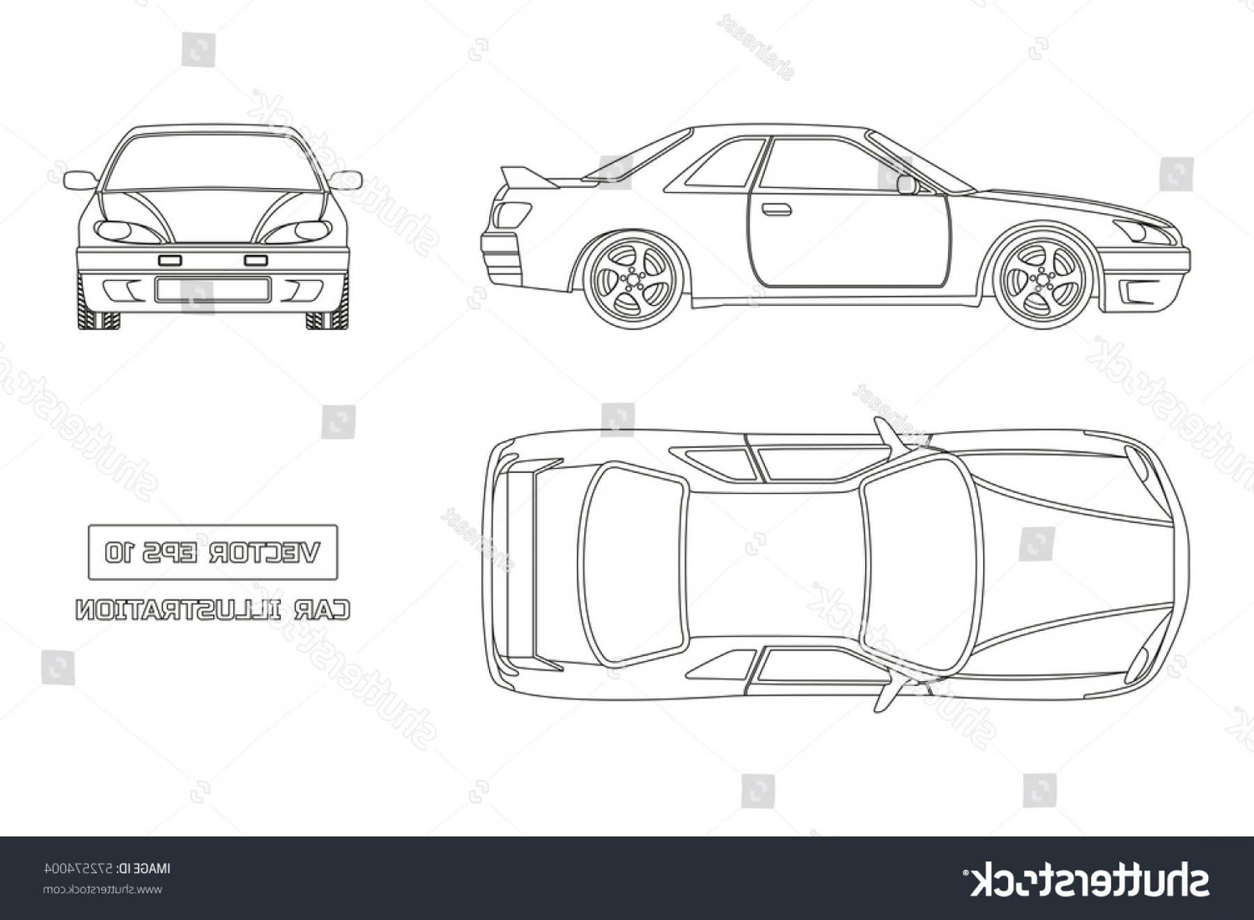 Car Vector Front Elevation: Contour Drawing Car On White Background