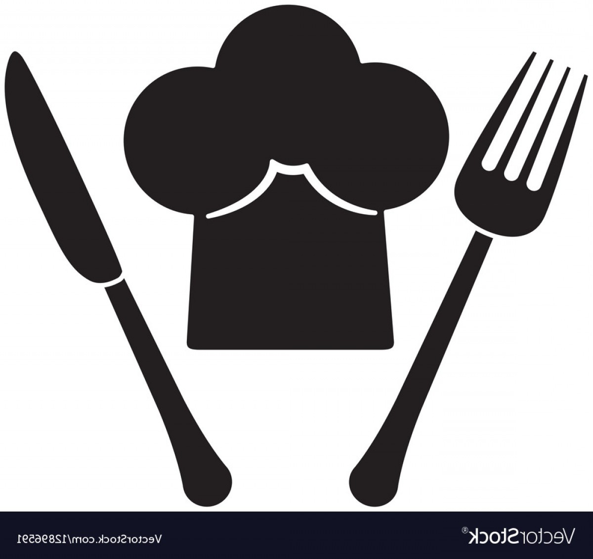 Vector Chef Utensils: Contour Fork And Knife With Chef Hat Vector