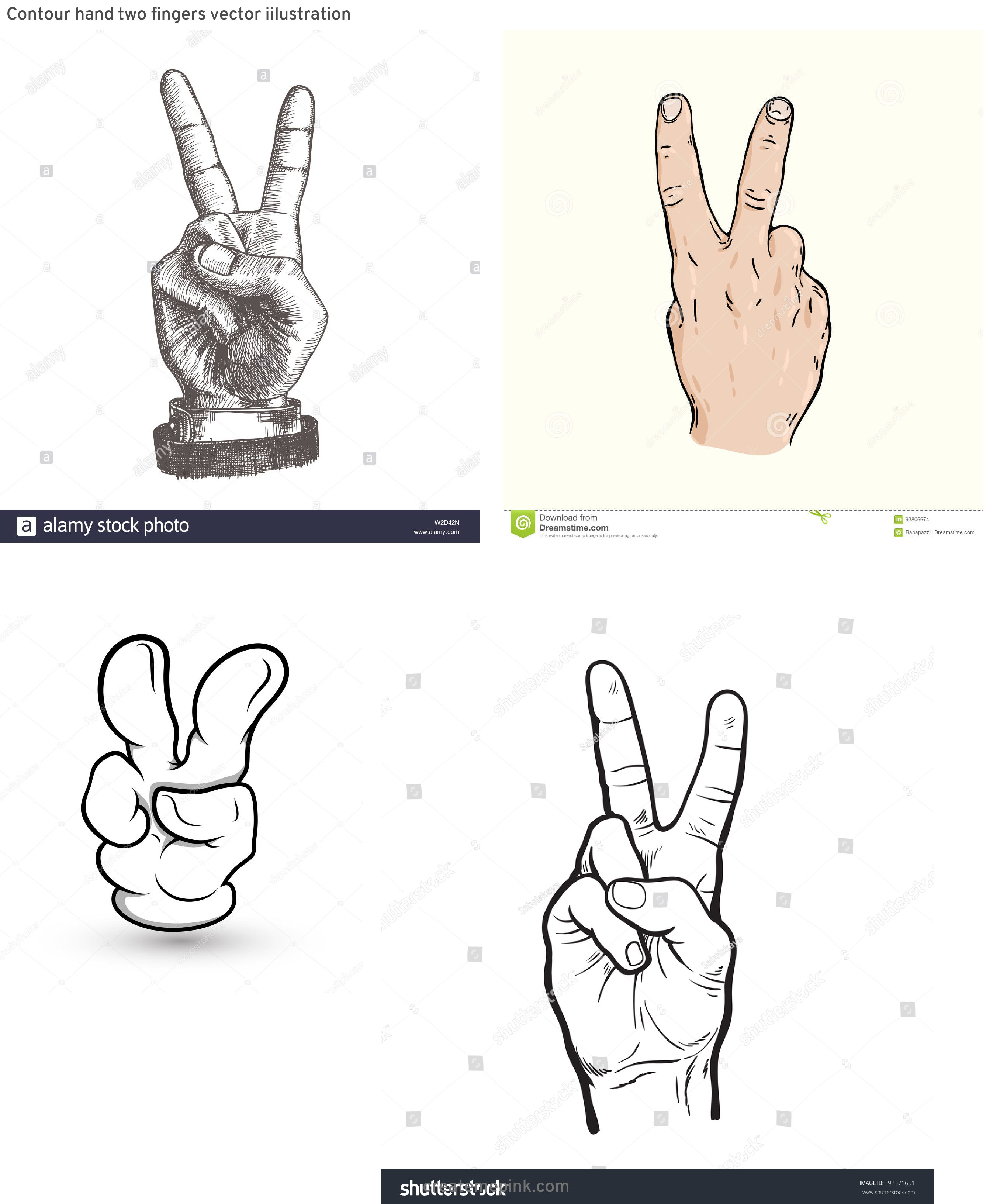 Two Finger Vector: Contour Hand Two Fingers Vector Iilustration