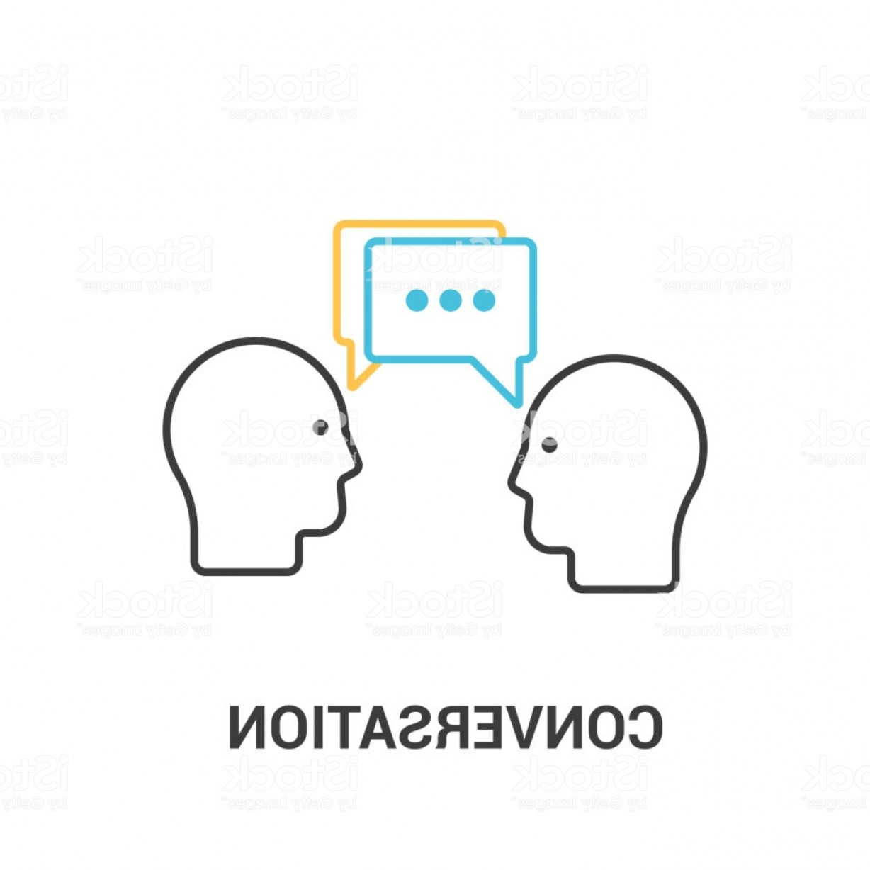 Two People Talking Vector Art: Conversation Concept Vector Illustration In Flat Line Style Two People Talking Gm