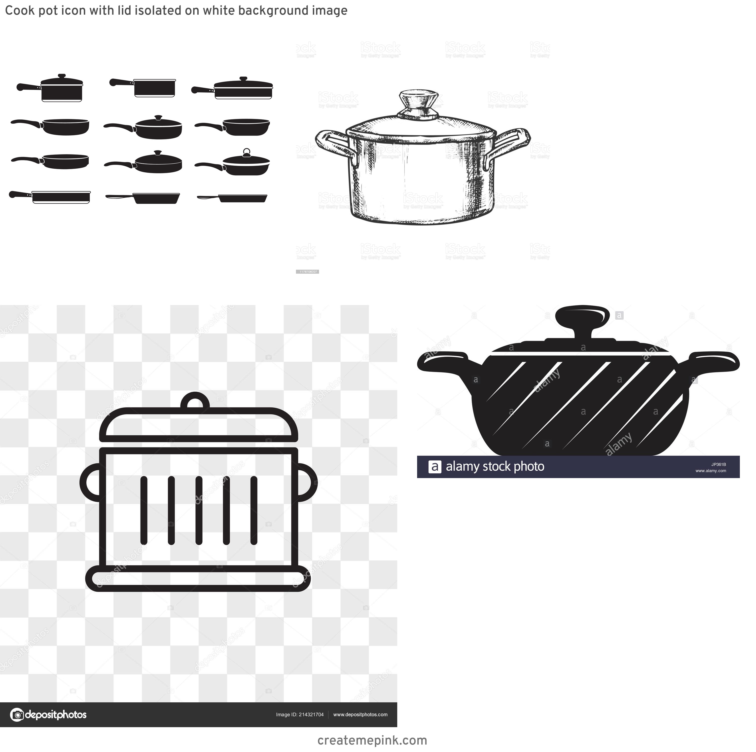 Cook Pot Vector: Cook Pot Icon With Lid Isolated On White Background Image
