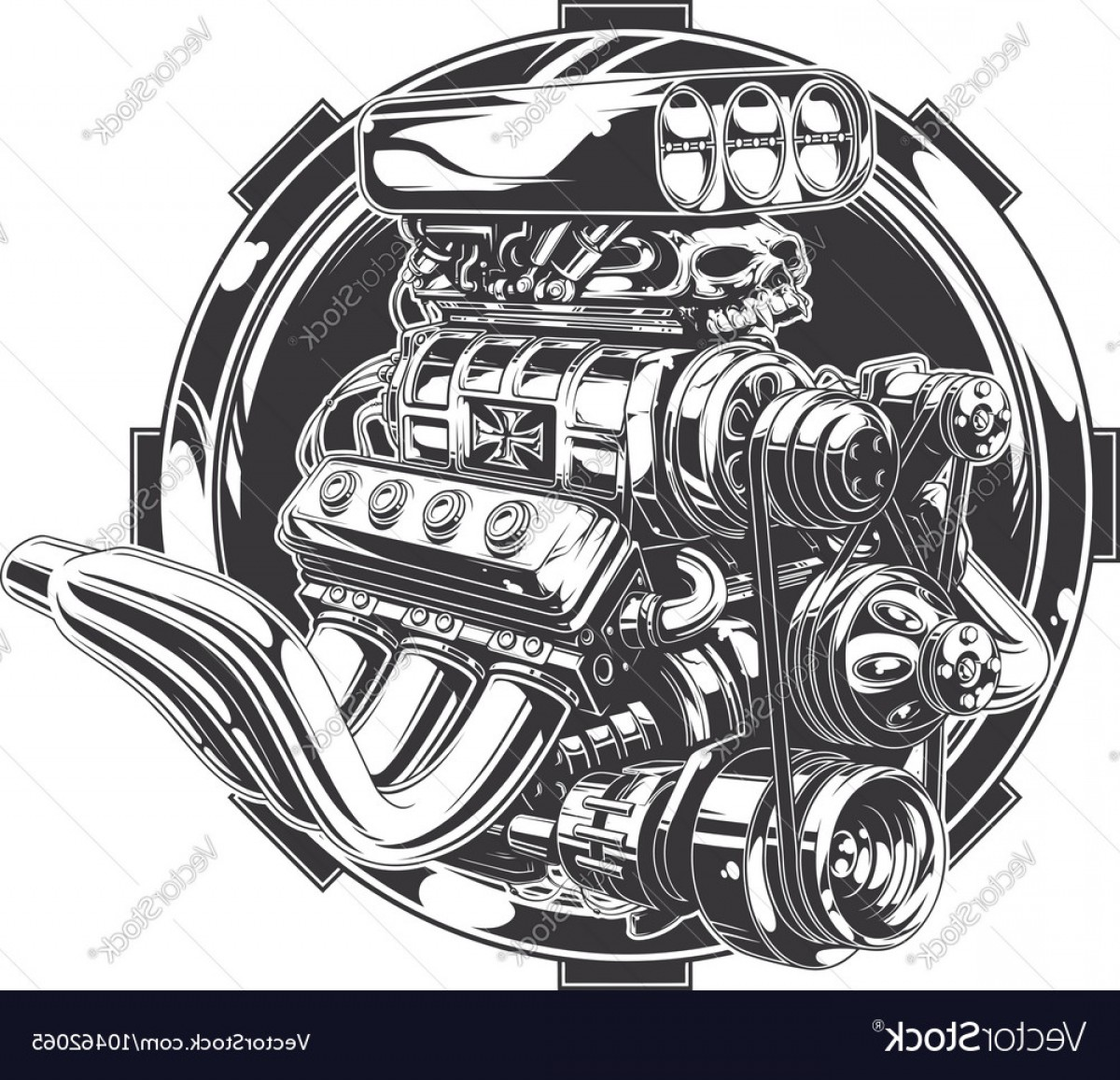Detailed Tattoo Vector Images: Cool Detailed Hot Road Engine With Skull Tattoo Vector
