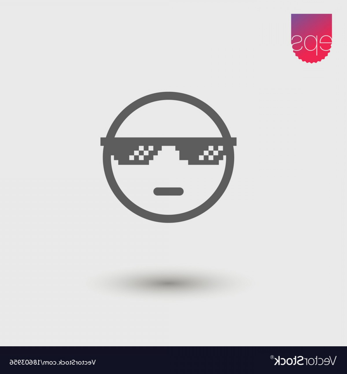 Cool Logo Icon Vector: Cool Face Simple Icon Emblem Pictogram Clipart Vector