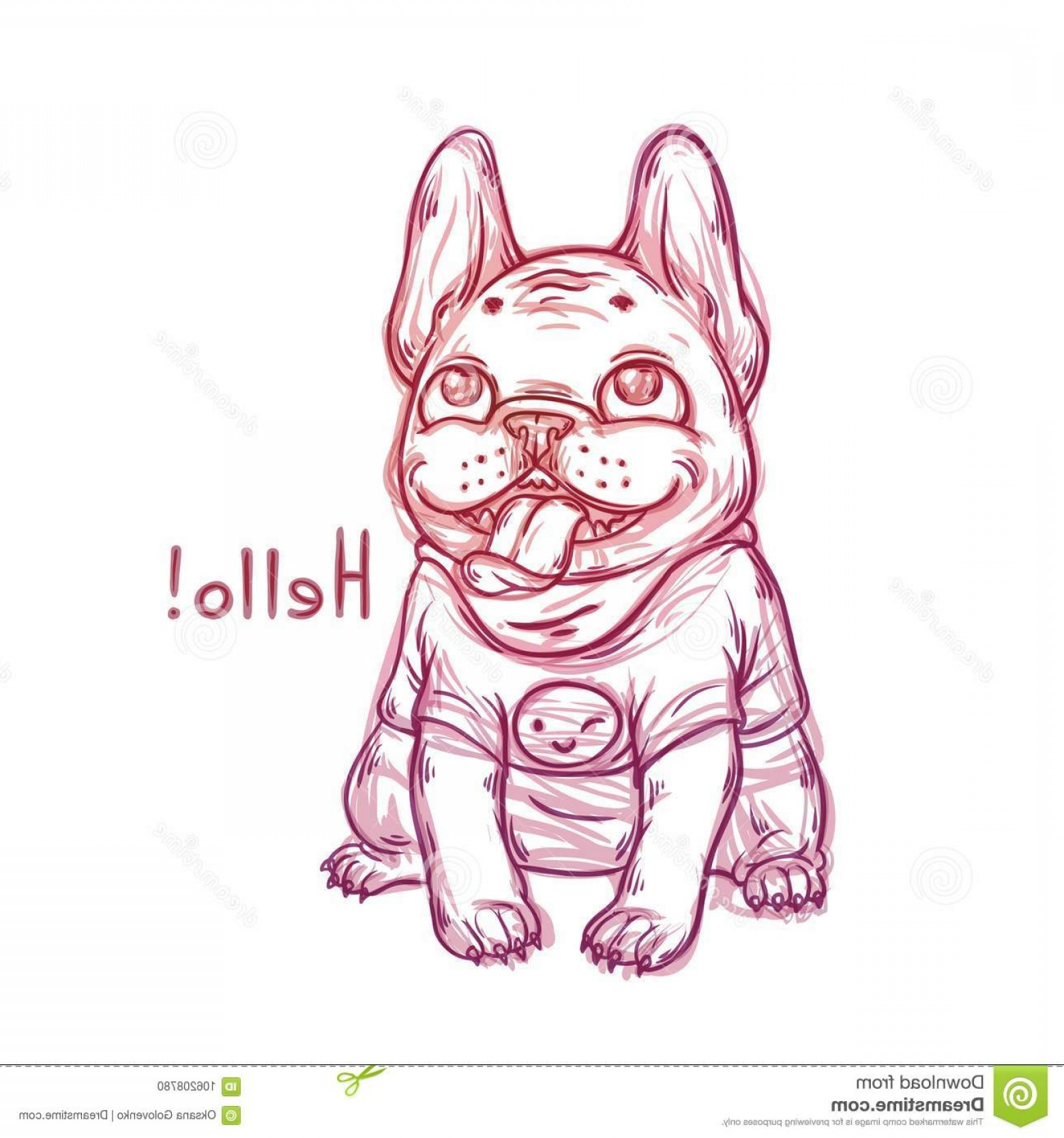 Vector Smiling Bulldog: Cool Sketch Portrait French Bulldog Wearing T Shirt Smile Emoji Vector Graphic Illustration Cartoon Happy Fat Dog Image