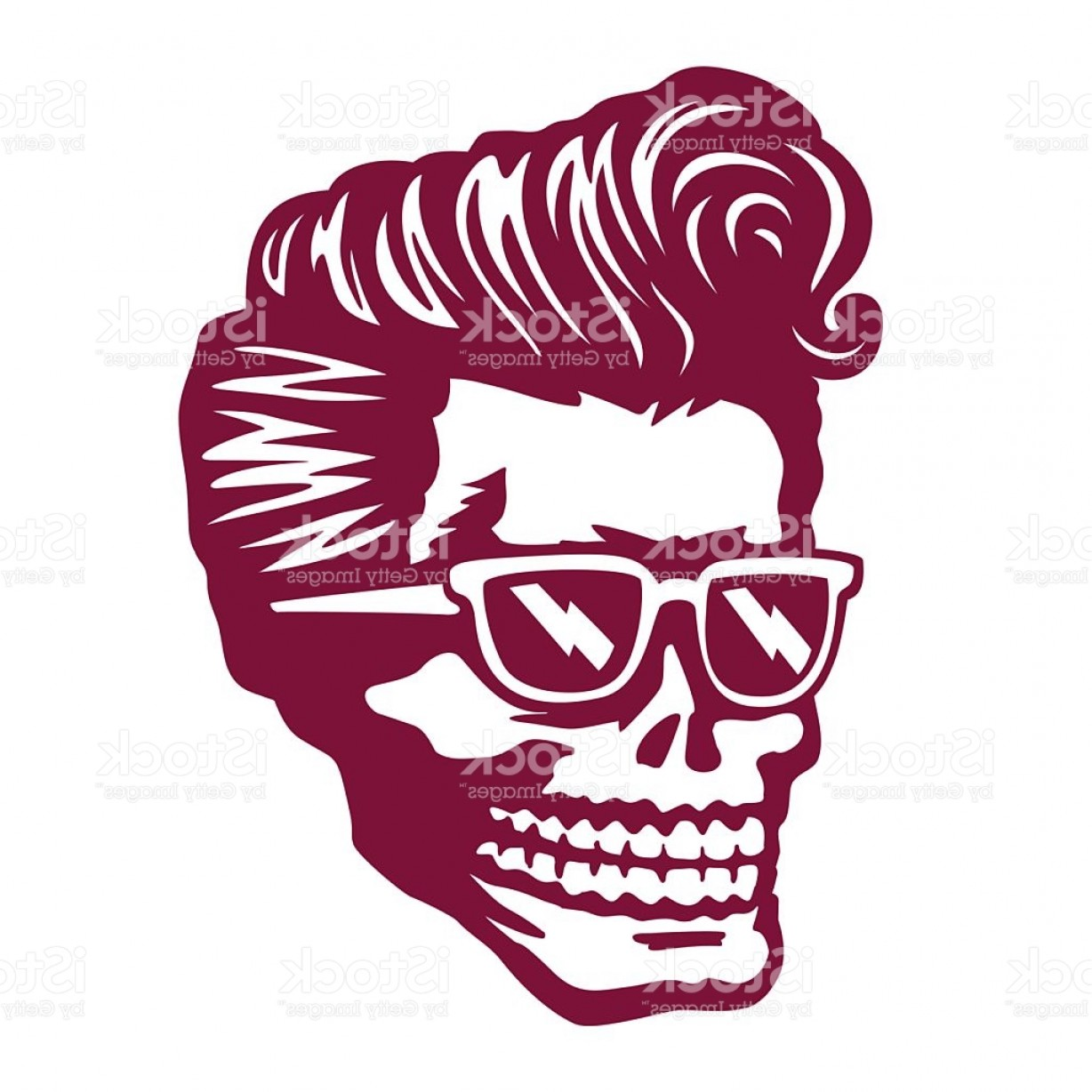 Cool Skull Vector: Cool Skull Face With Rockabilly Hairstyle And Sunglasses Vector Illustration Gm