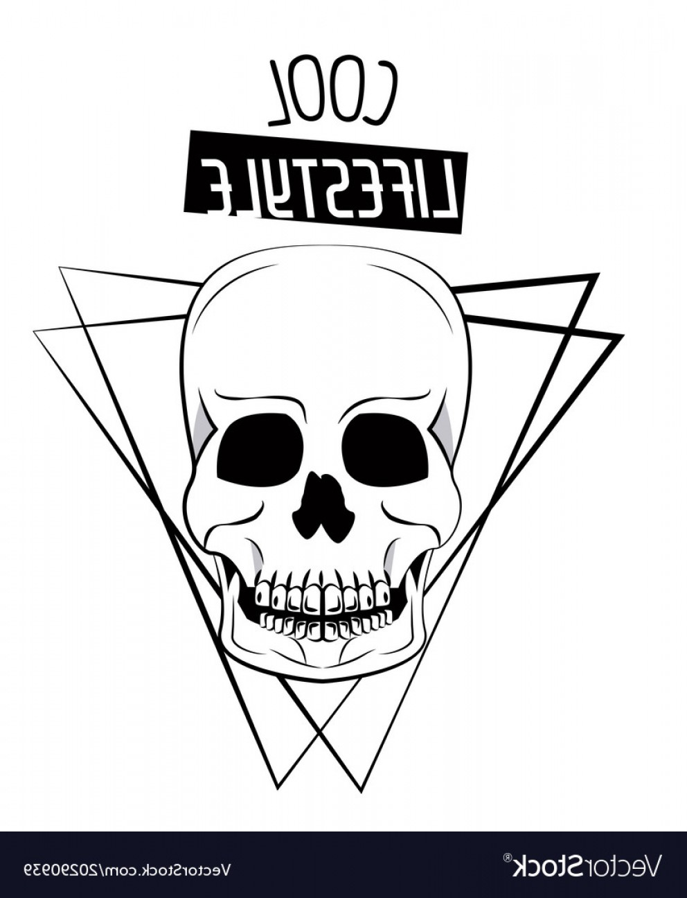 Cool Skull Vector: Cool Skull Print For Tshirt Vector
