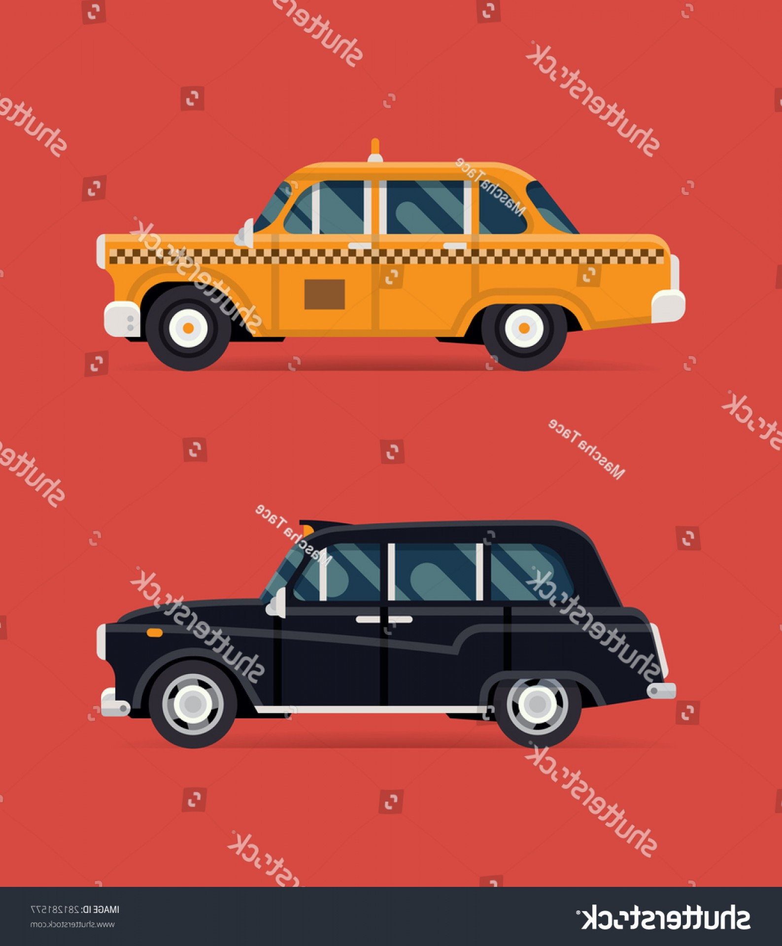 New York Taxi Cab Vector: Cool Vector Modern Flat Design Illustration
