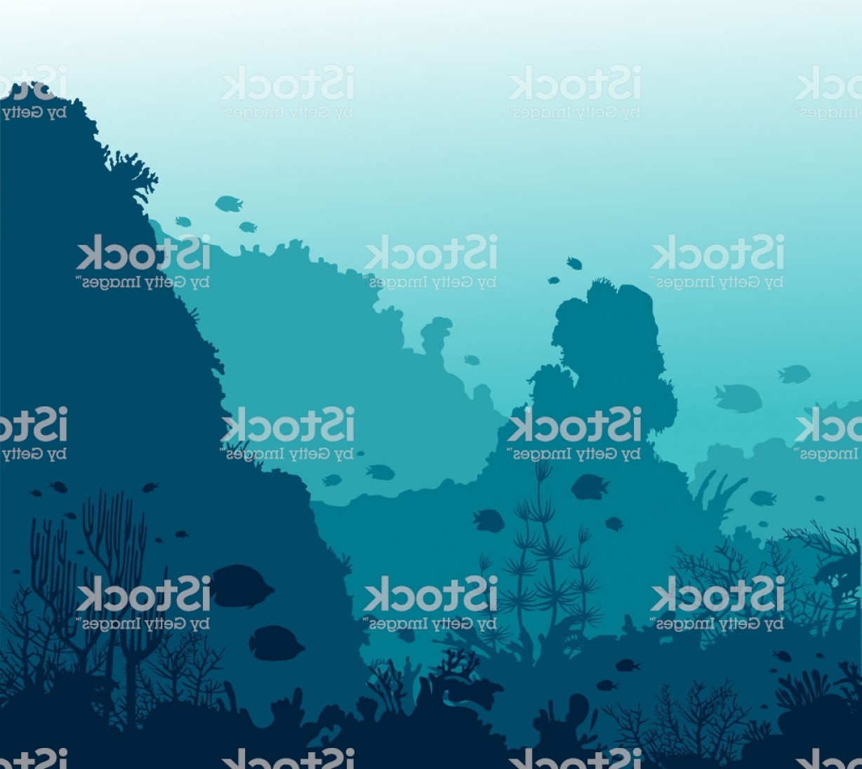 Underwater Sea Vector Art: Coral Reef Fish And Underwater Sea Gm