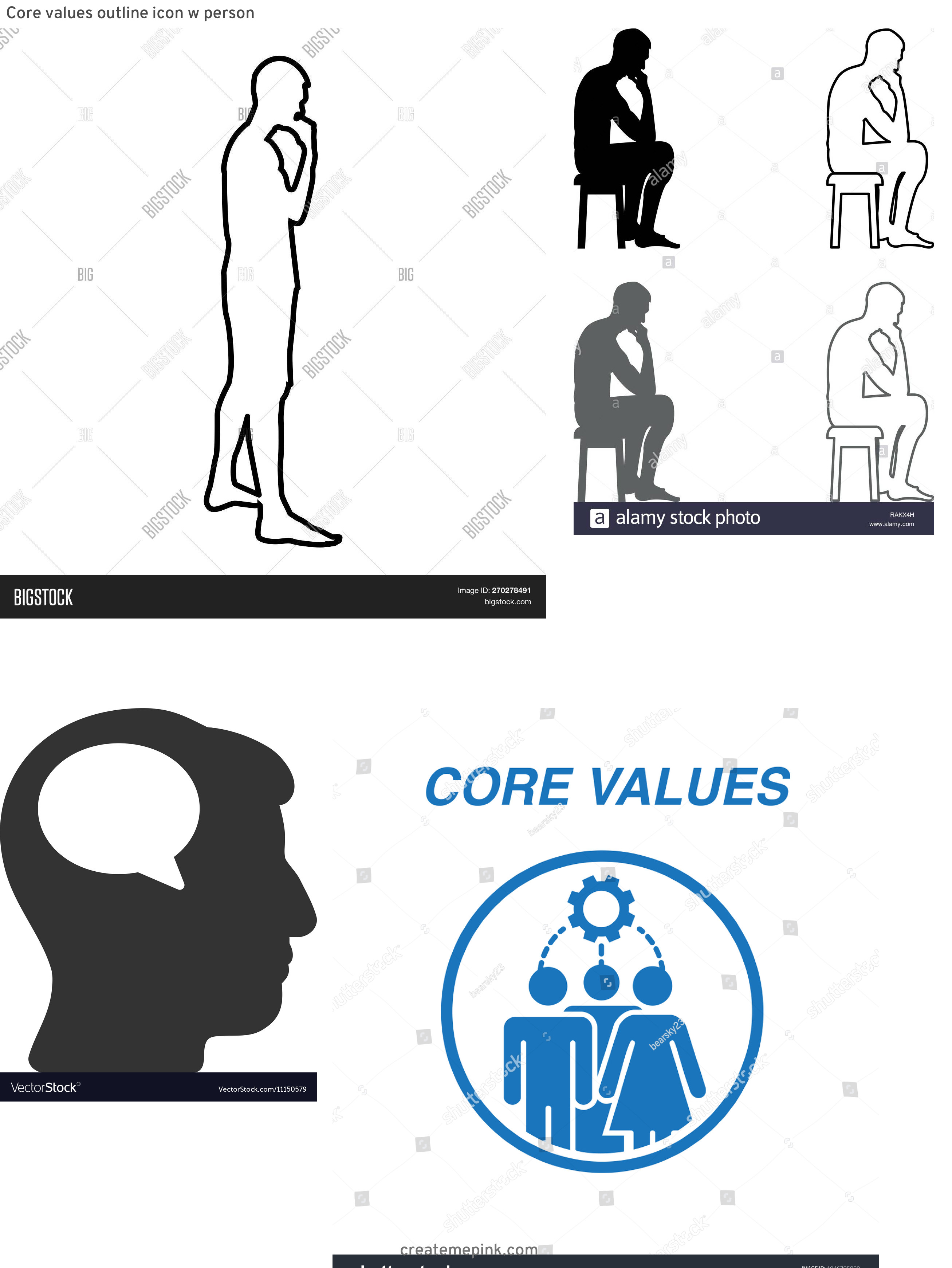 Person Thinking Outline Vector: Core Values Outline Icon W Person