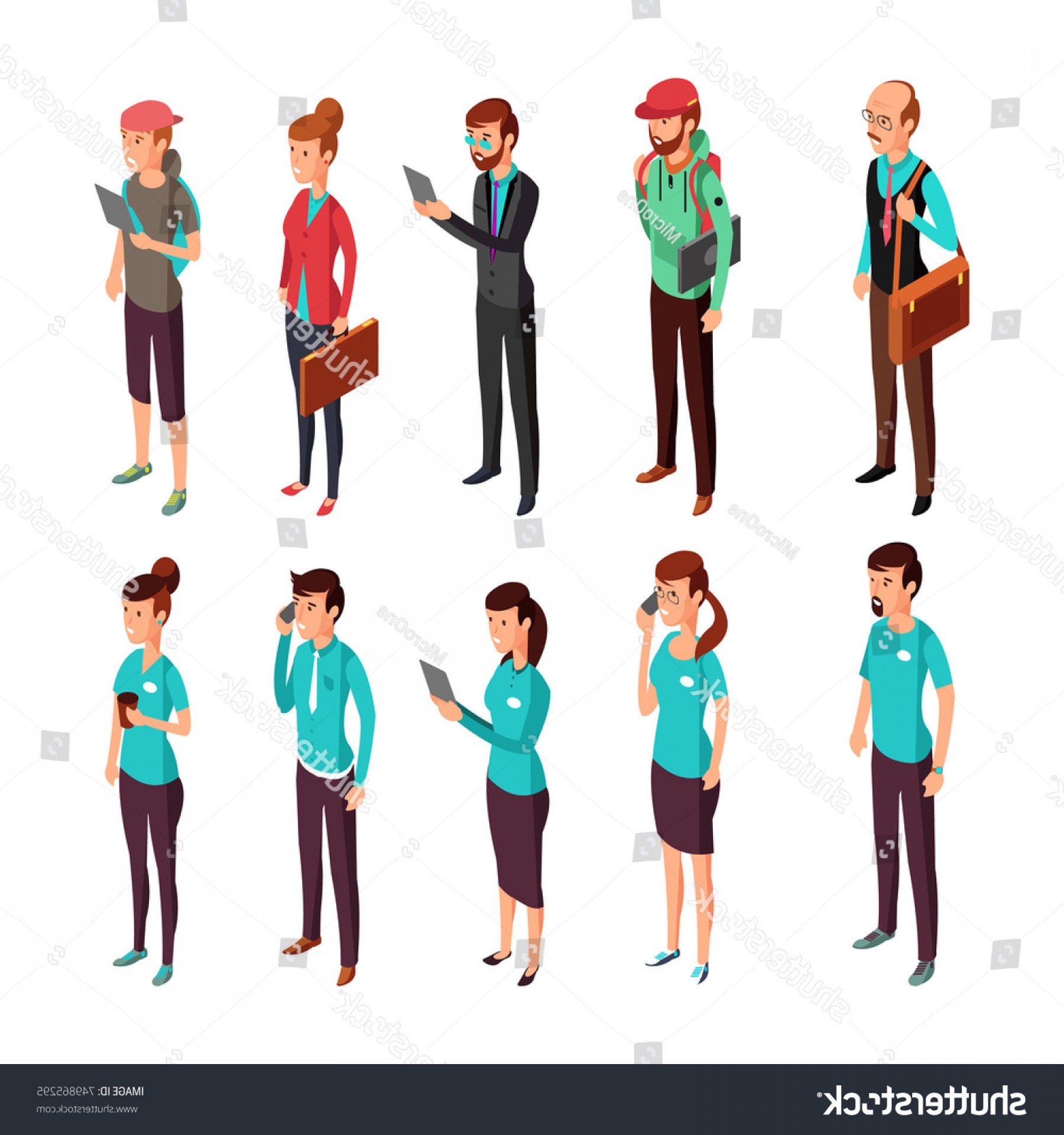 People Standing Vector: Corporate Clothes Isometric Illustration Standing People