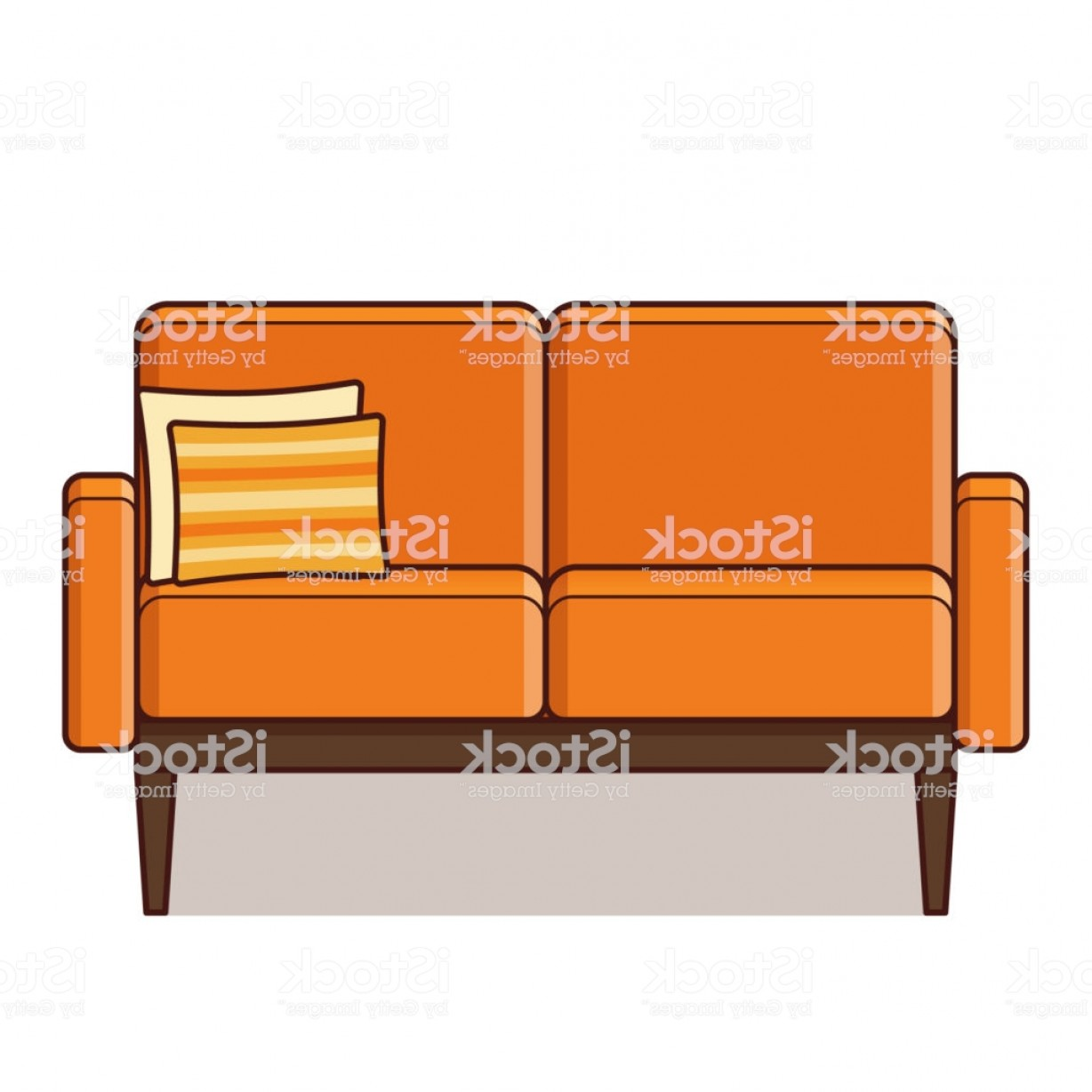 Back Of The Couch Vector: Couch Icon In Flat Design Vector Illustration Retro Style Gm