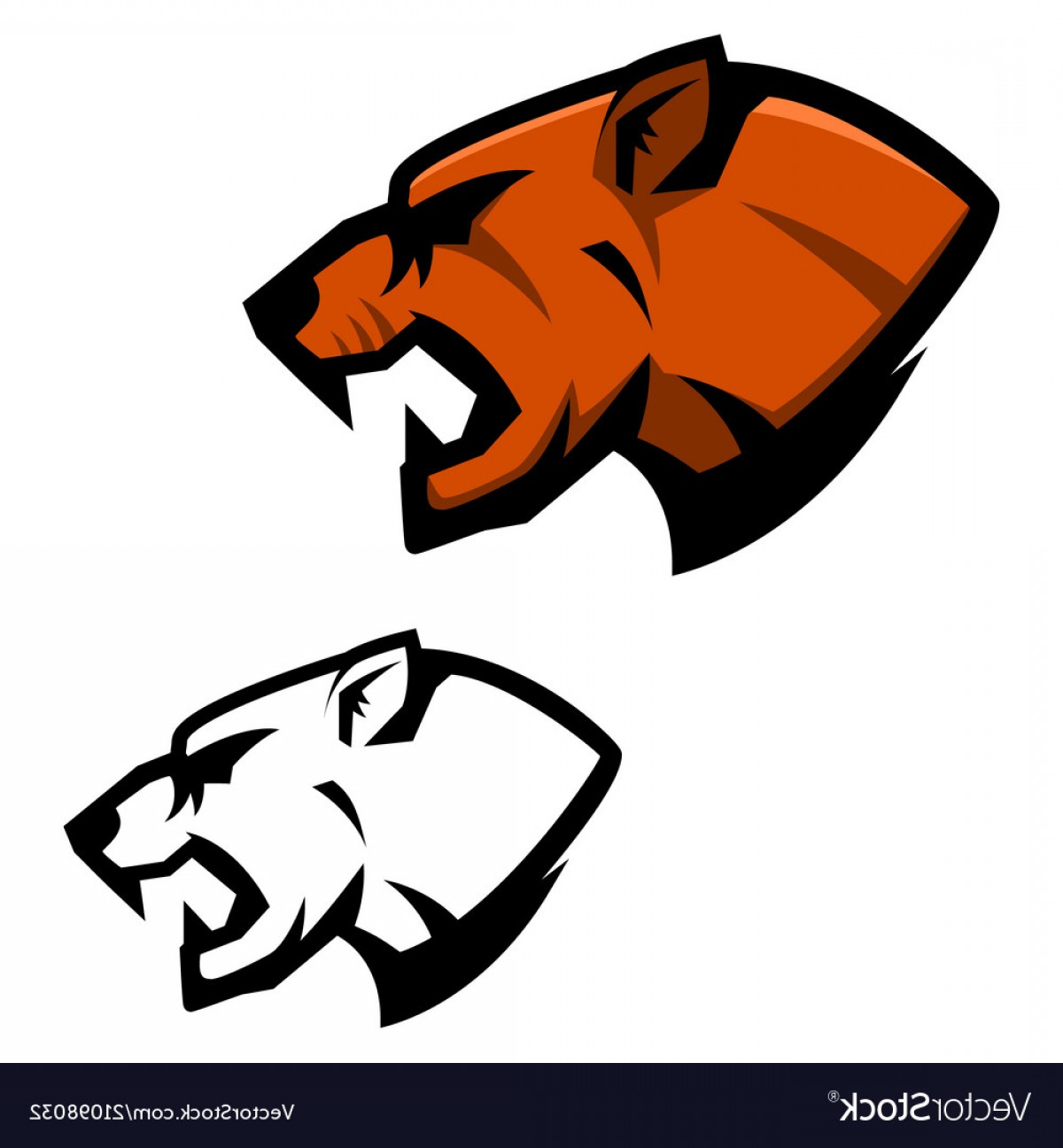 Cougar Logo Vector: Cougar Head Sport Team Mascot Template Design Vector