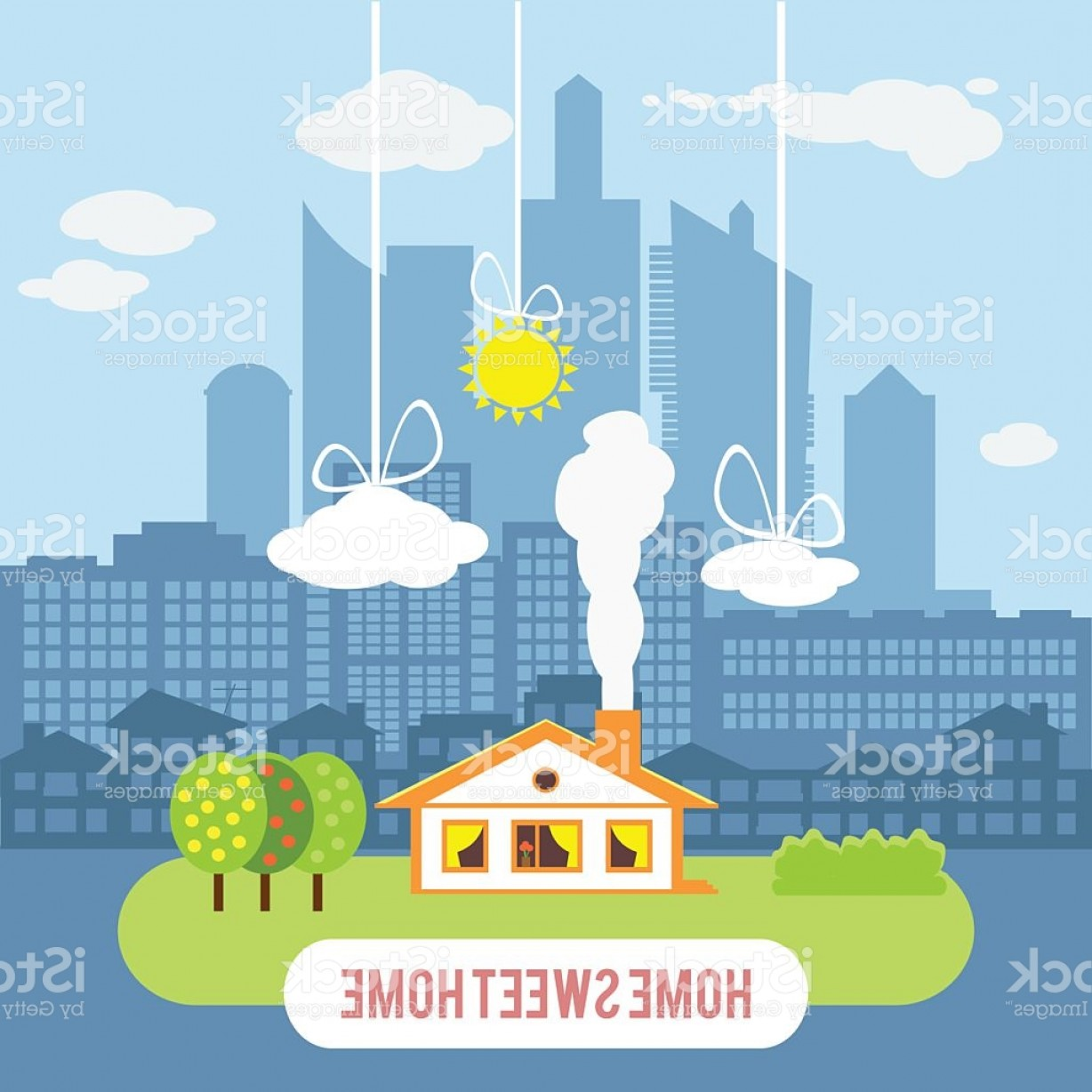 Industrial Vector Art: Country House With Big Industrial City On The Background Gm
