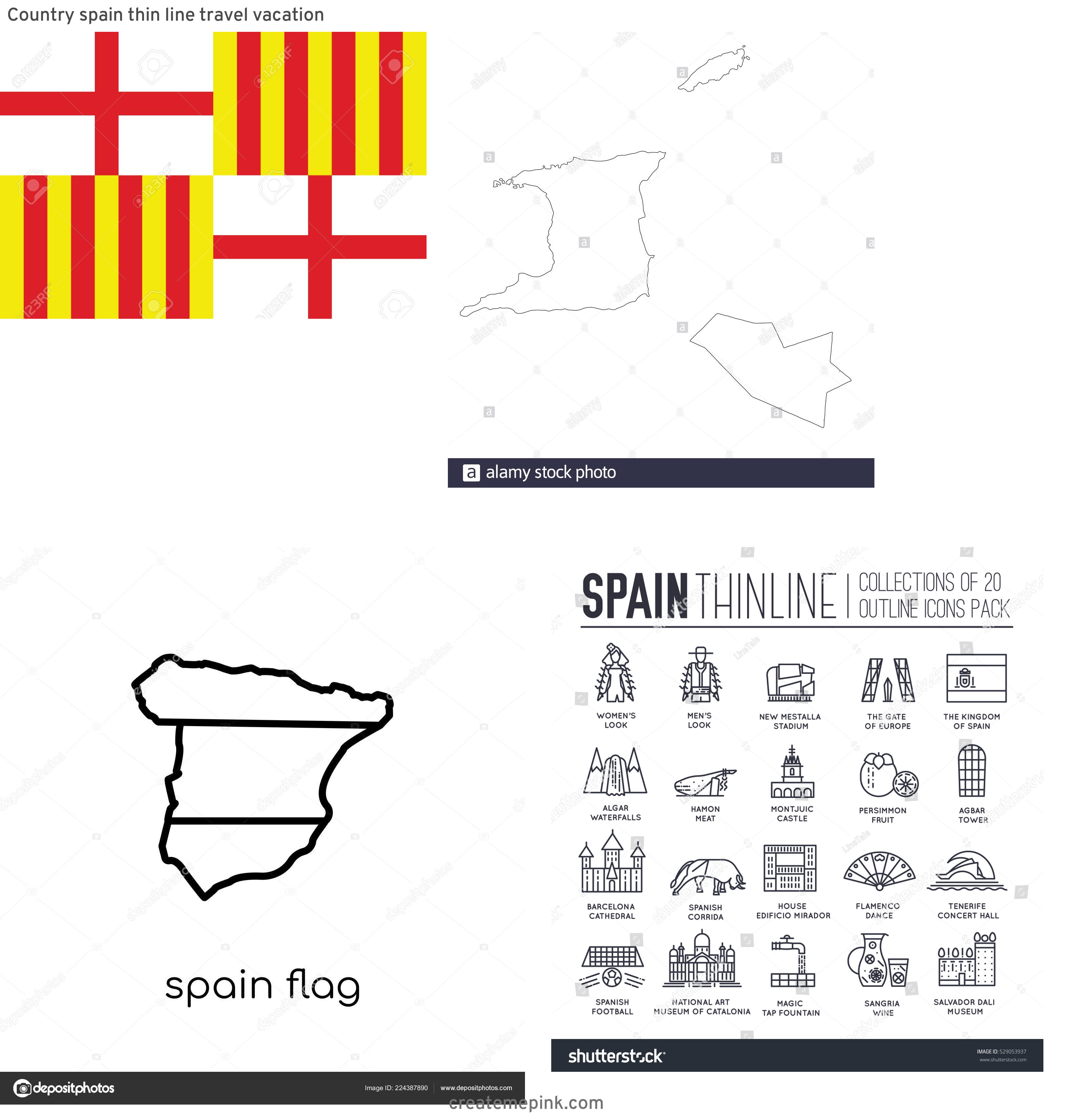 Spain Country Vectors Line: Country Spain Thin Line Travel Vacation