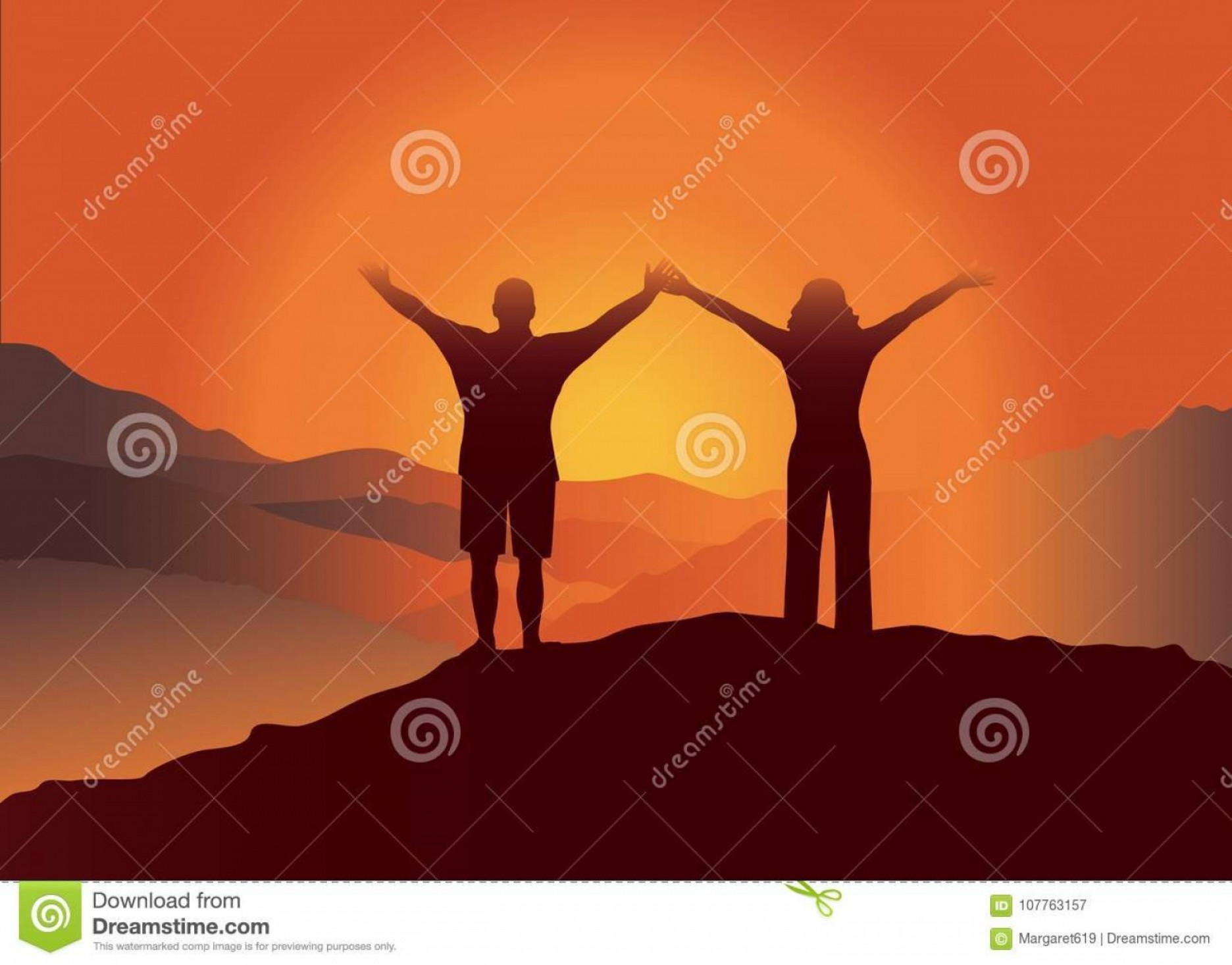 Holding Hands Up Silhouette Vector: Couple Hands Up Top Mountain Man Women Enjoying Beautiful View Vector Illustration Blue Ridge Mountains North Image