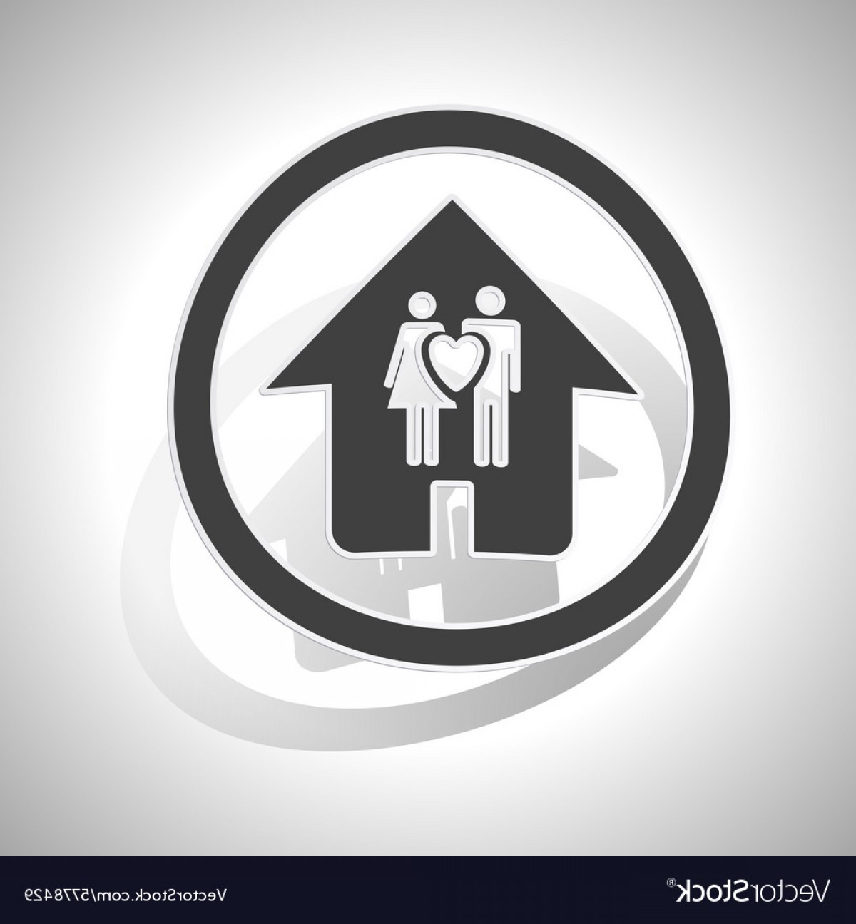 Vector House Sign: Couple House Sign Sticker Curved Vector
