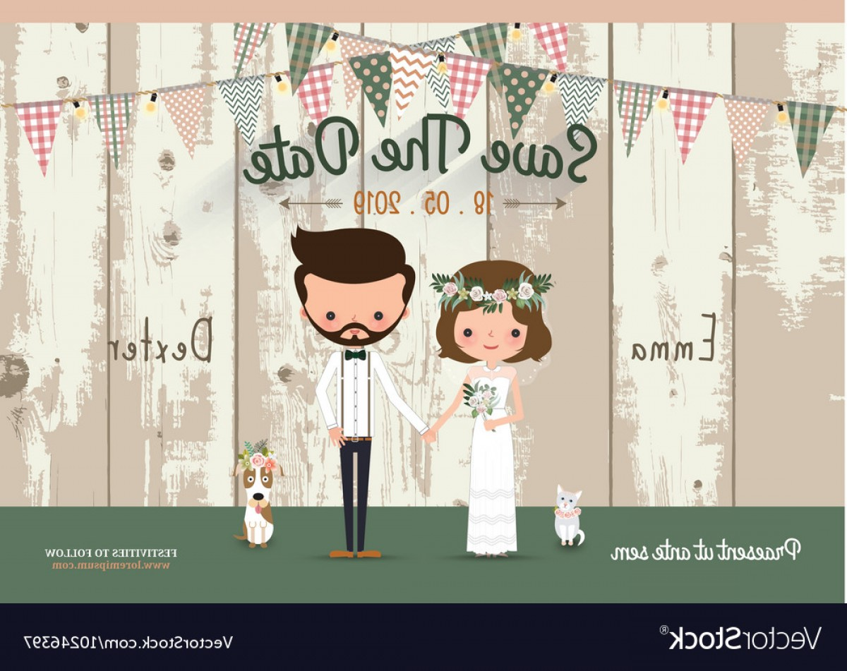 Rustic Wedding Invitation Vector: Couple Rustic Wedding Invitation Card Vector