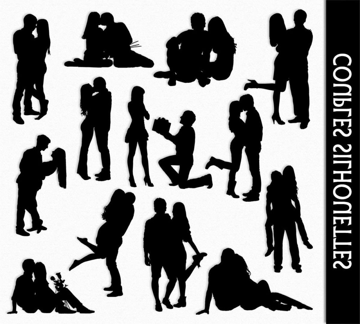 Vector Silhouette Love: Couples Clip Art Graphic People In Love