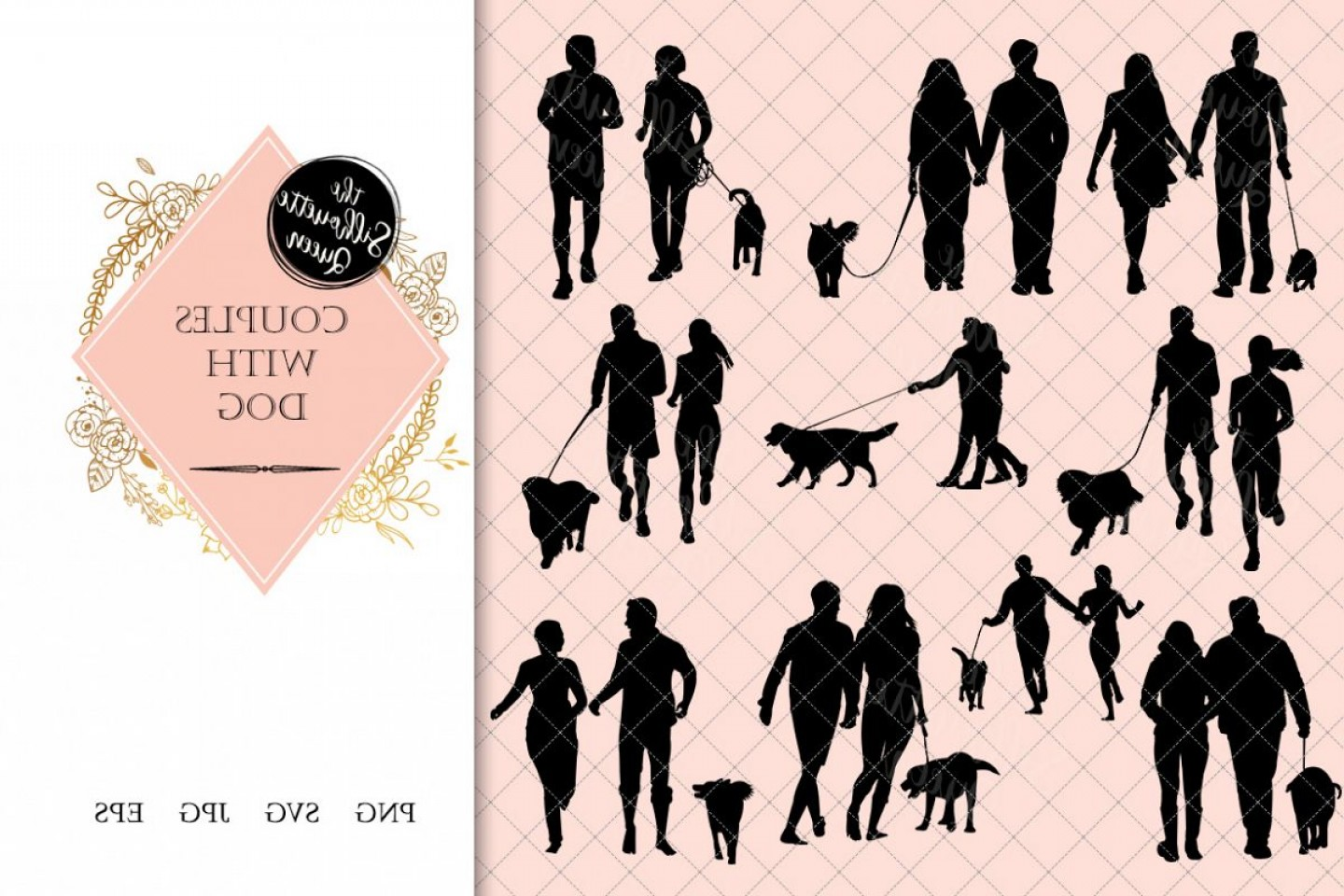 Vector Silhouette Dog Walk: Couples With Dog Silhouette Dog Walking Vector Exercise W