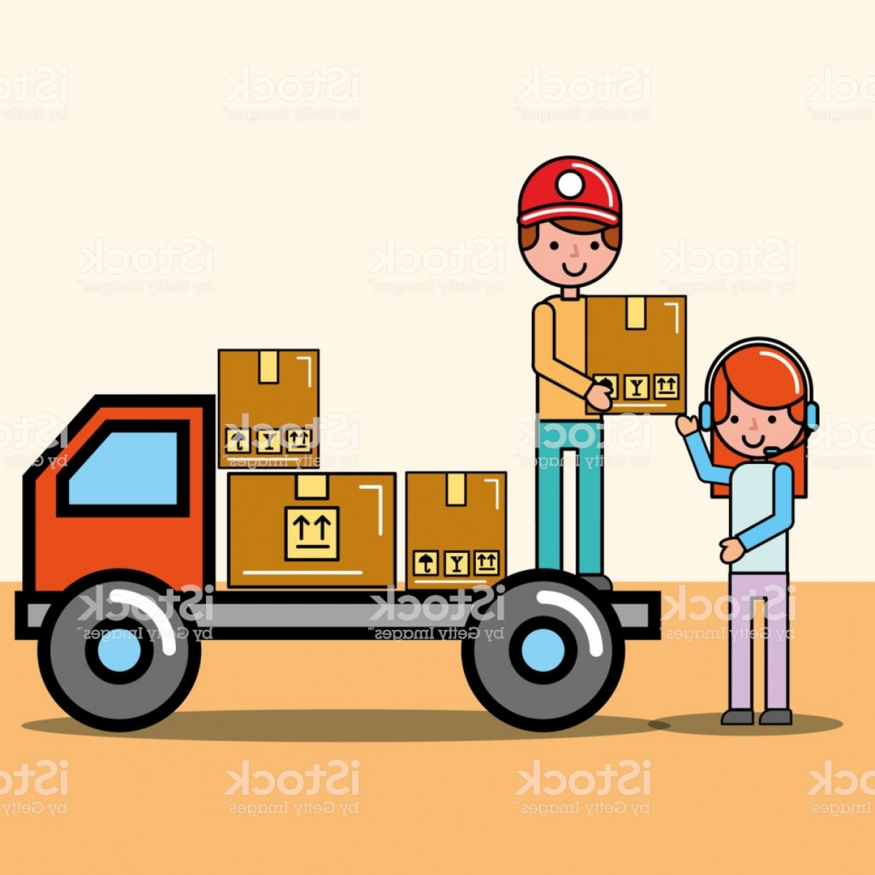 Packages On A Truck Vector: Courier Boy In Truck And Operator Girl Packages Logistic And Delivery Gm