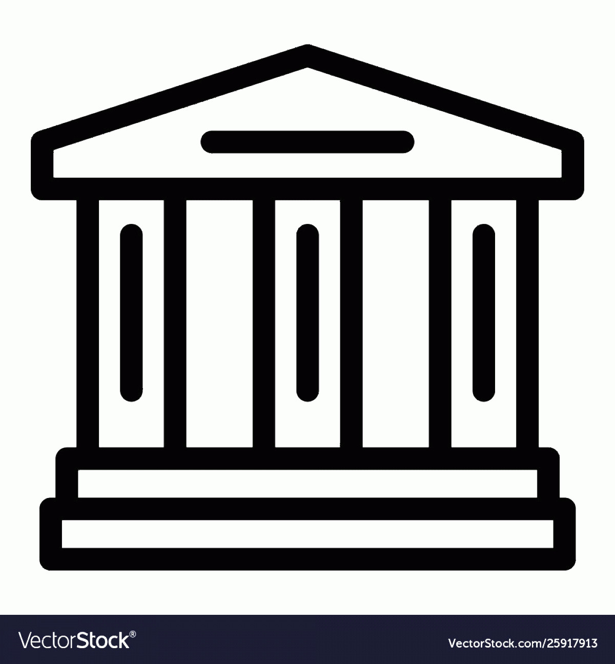 Court Building Vector: Court Building Icon Outline Style Vector