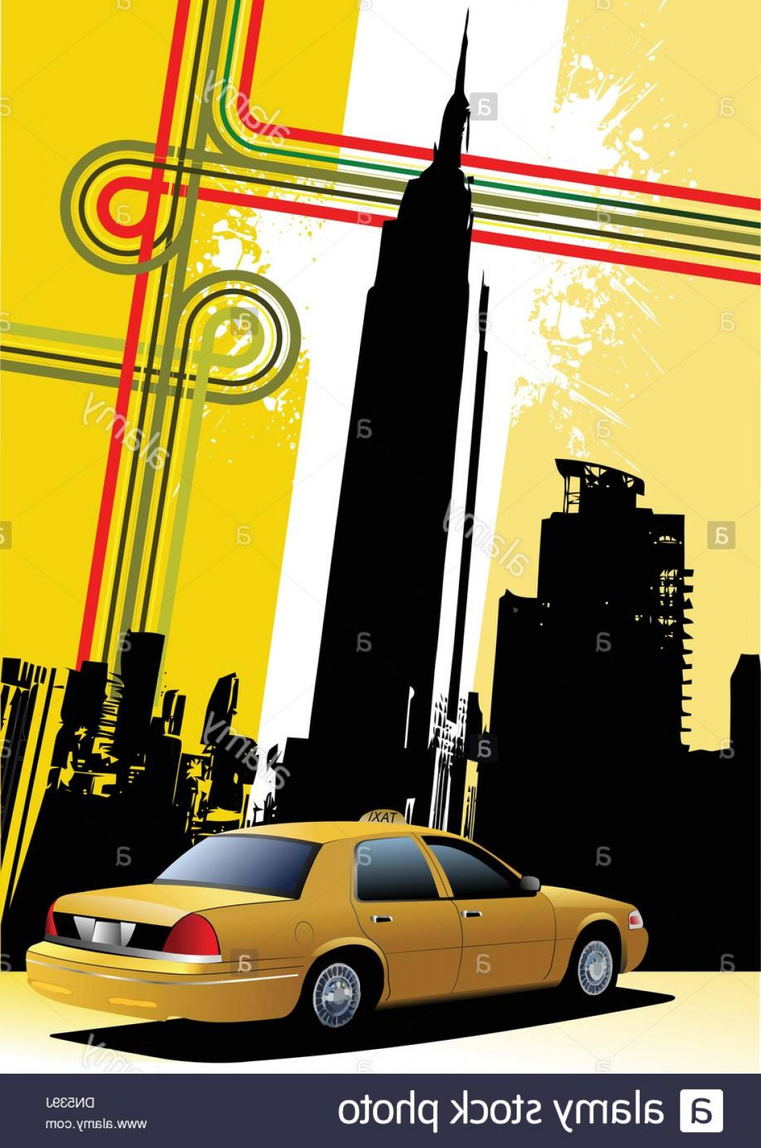 New York Taxi Cab Vector: Cover For Brochure With New York And Taxi Cab Images Image