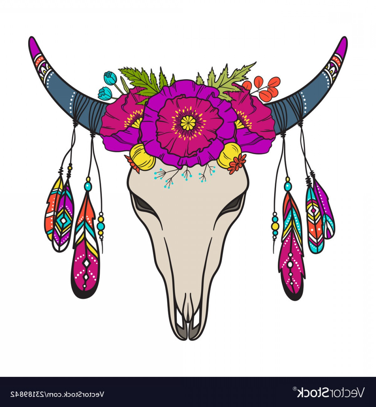 Cow Skull Vector Clip Art: Cow Skull Decorated With Flowers Vector