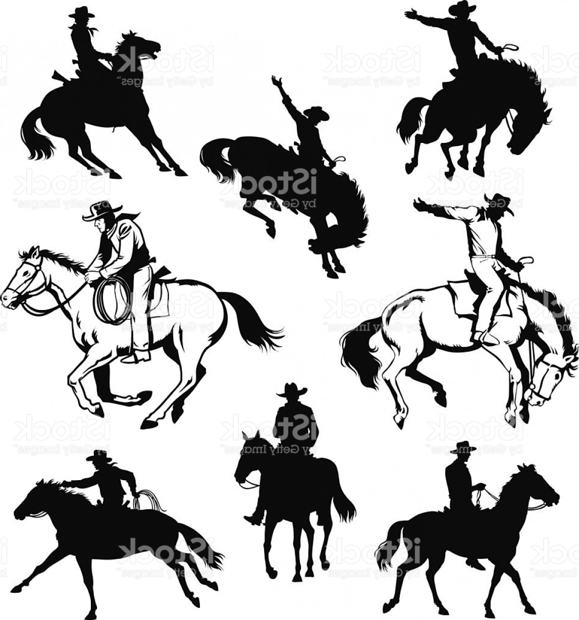 Cowboys Line Drawings Vector: Cowboy And Horse Drawings And Silhouettes Gm