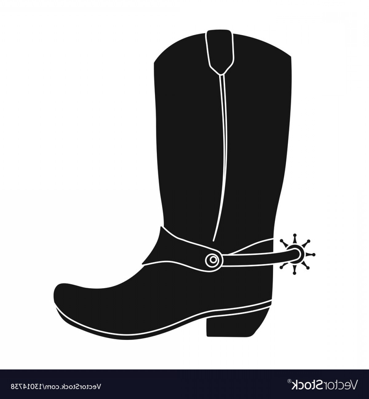 Two Cowgirl Boots Vector: Cowboy Boots Icon In Monochrome Style Isolated On Vector