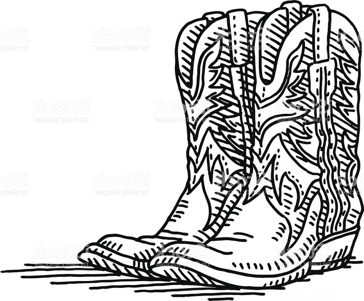 Cowboys Line Drawings Vector: Cowboy Boots Pair Drawing Gm
