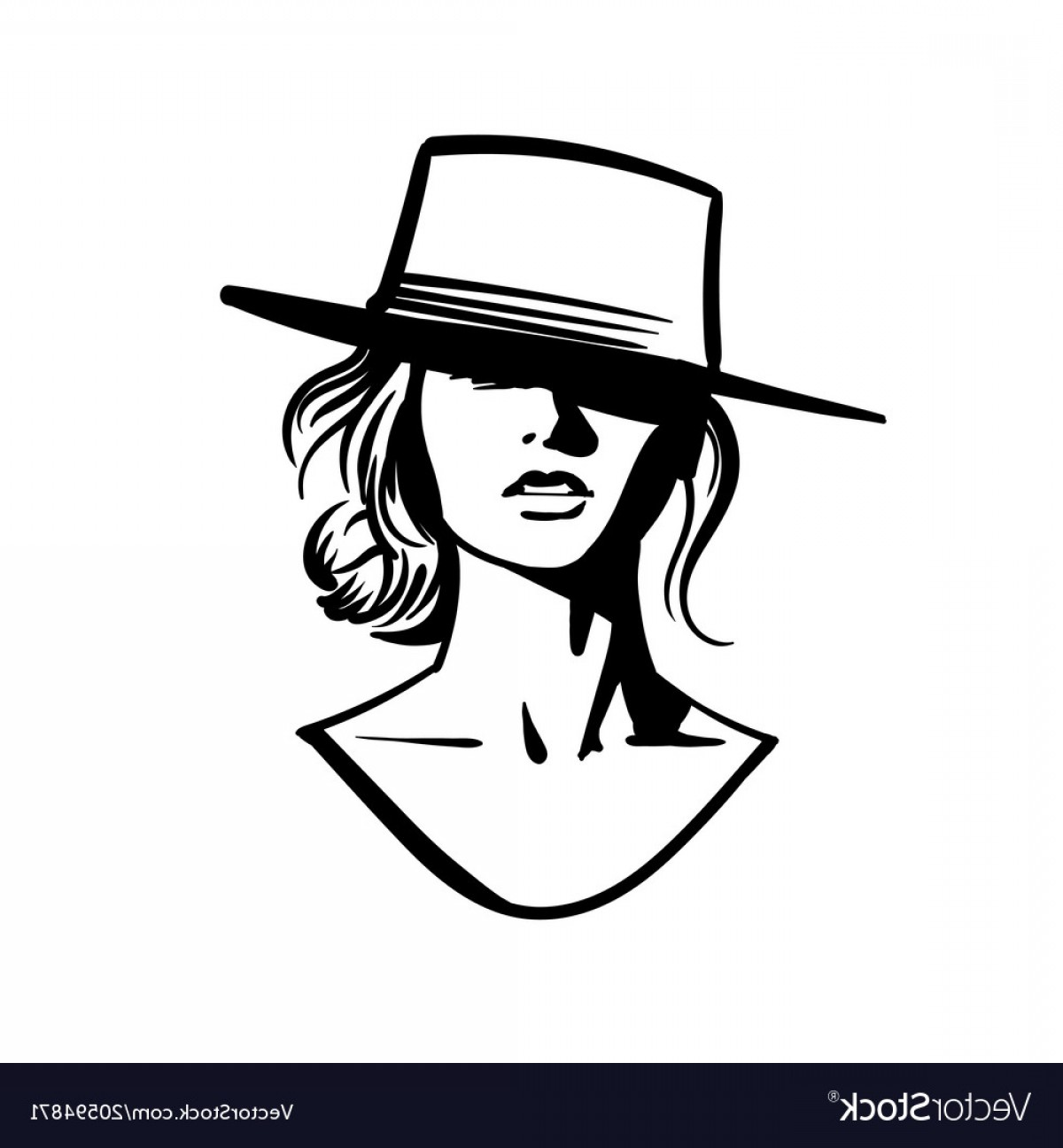 Girl Face Vector Art Black And White: Cowboy Girl Face With Hat Black And White Vector