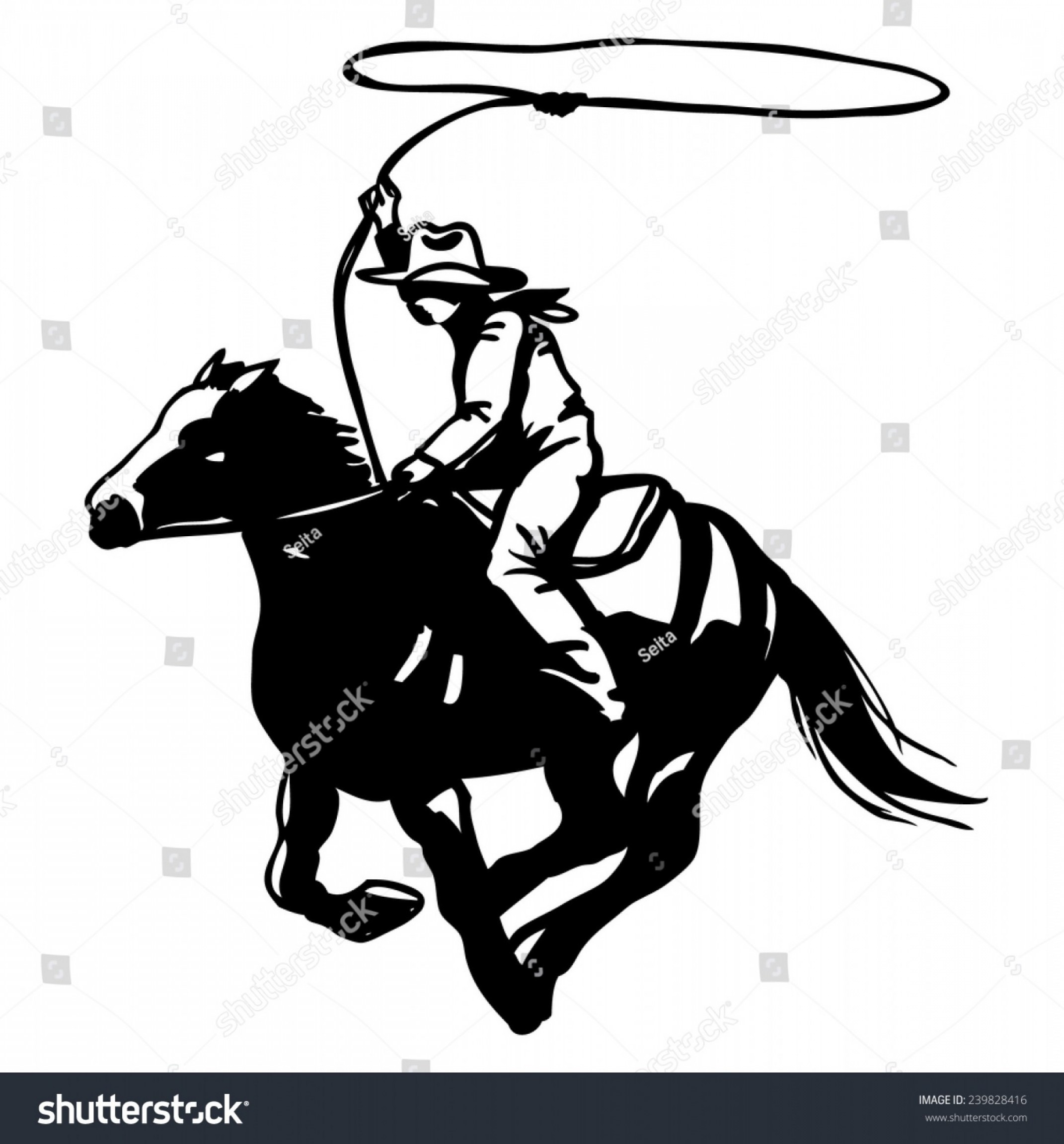 Barrel Racer Vector: Cowboy Lasso On Horse Silhouette Vector
