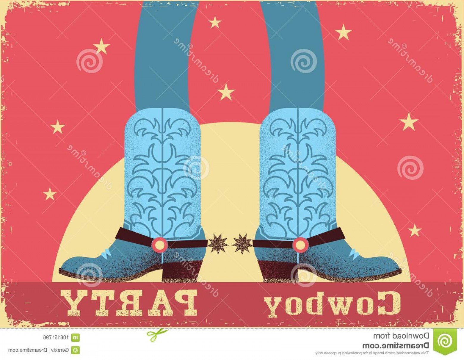 Two Cowgirl Boots Vector: Cowboy Party Card Background Cowboy Legs Western Boots Vintage Western Poster Flat Style Cowboy Party Card Background Image