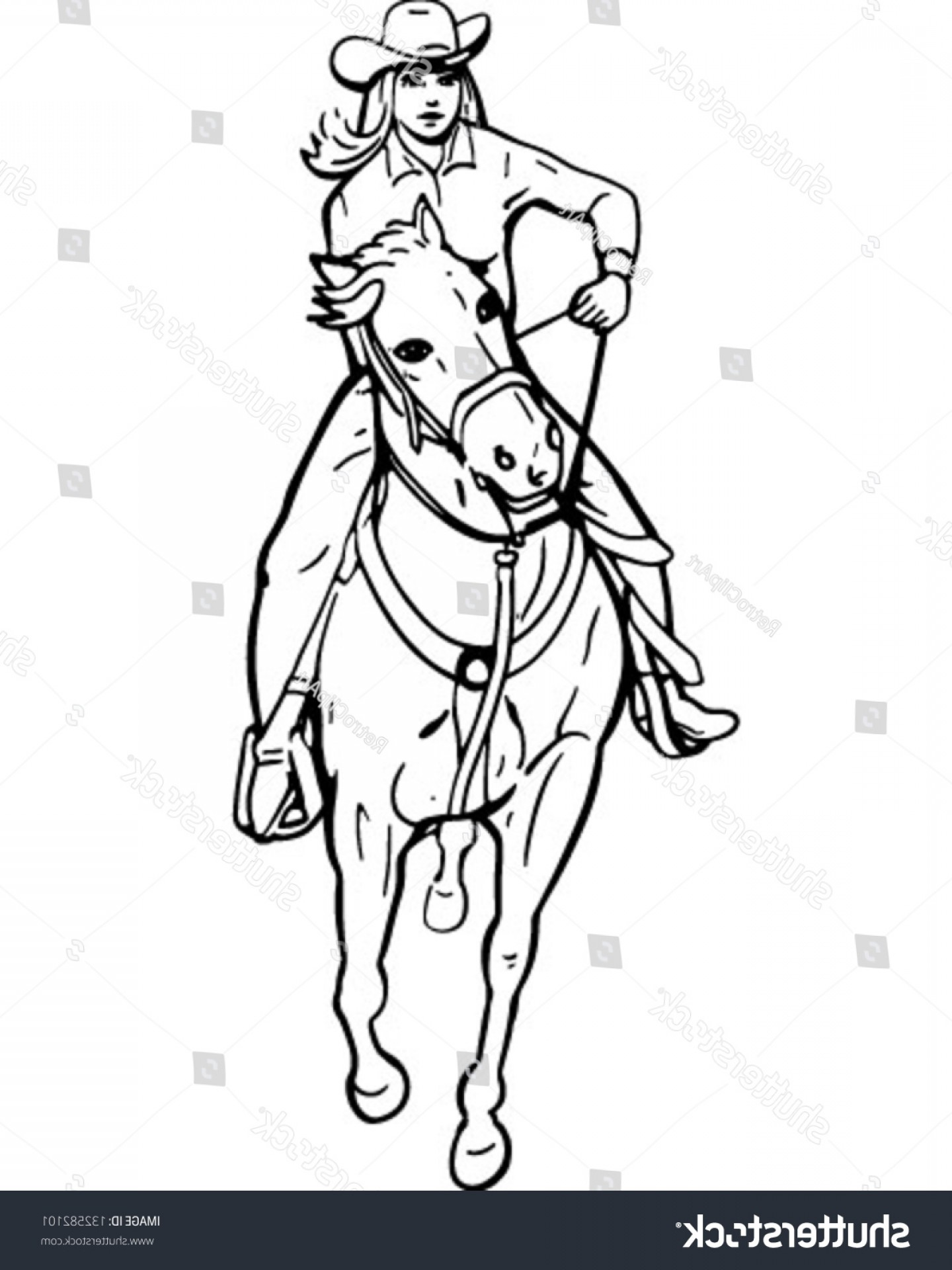 Barrel Racer Vector: Cowgirl Barrel Racer Retro Clip Art