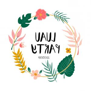 Luau Vector: Cocktail Circle Invitation With Flowers Leaves Vector