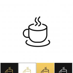 Coffee Steam Vector: Coffee Cup Steam Mug Vector Icon