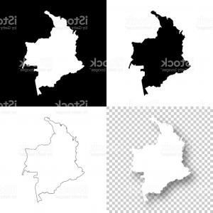 Geographic Leaf Vector: Colombia Maps For Design Blank White And Black Backgrounds Gm