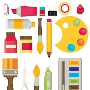 Supplies Vector Graphic: Stock Photo Set Flat Multicolored Icons Art Supplies Art Materials Art Marker