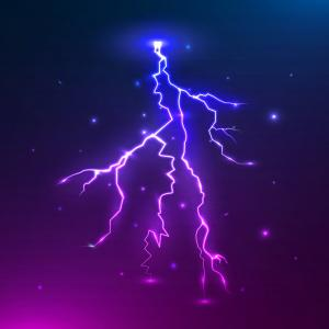Multiple Lightning Strikes Vector: Colorful Lightning Thunder Storm And Vector