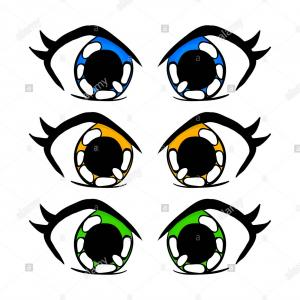 Vector Manga Eyes: Colorful Male Eyes Vector