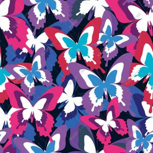 Purple Butterfly Wallpaper Vector: Colorful Seamless Pattern With Butterfly Vector