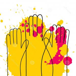 Volunteer Clip Art Vector: Colorful Up Hand Background Line Art Style Splashes Volunteer Concept Colorful Up Hand Background Line Art Style Image