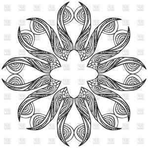 Vector Coloring Sheet: Coloring Sheet For Adults Stylized Flower Vector Clipart