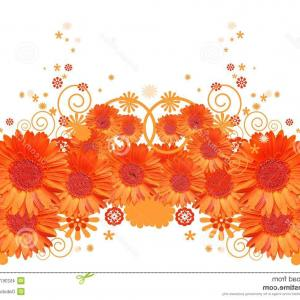 Orange Gerber Daisy Vector: Adorable Stock Illustration Bouquet Pink Gerbera Flowers Vector Illustration Light Stems White Background Image