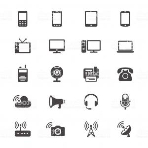 Vector Hand Crank TV: Communication Device Flat Icons Gm
