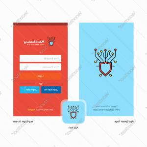 Vector Security Account: Company Cyber Security Splash Screen And Login Vector