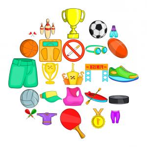 25 Vector Game: Competitive Game Icons Set Cartoon Style Vector