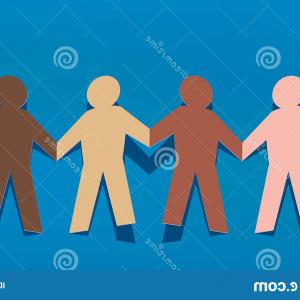 Paper Holding A Clenched Fist Vector: Concept Solidarity Peace Human Chain Connecting Hand Characters Different Races Cut Out Multicolored Paper Symbol Image