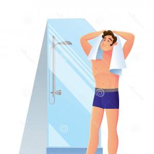 Vector Person Shower: Contented Young Man Character Takes Shower Bathroom Contented Young Man Character Takes Shower Bathroom Rubs Up Image